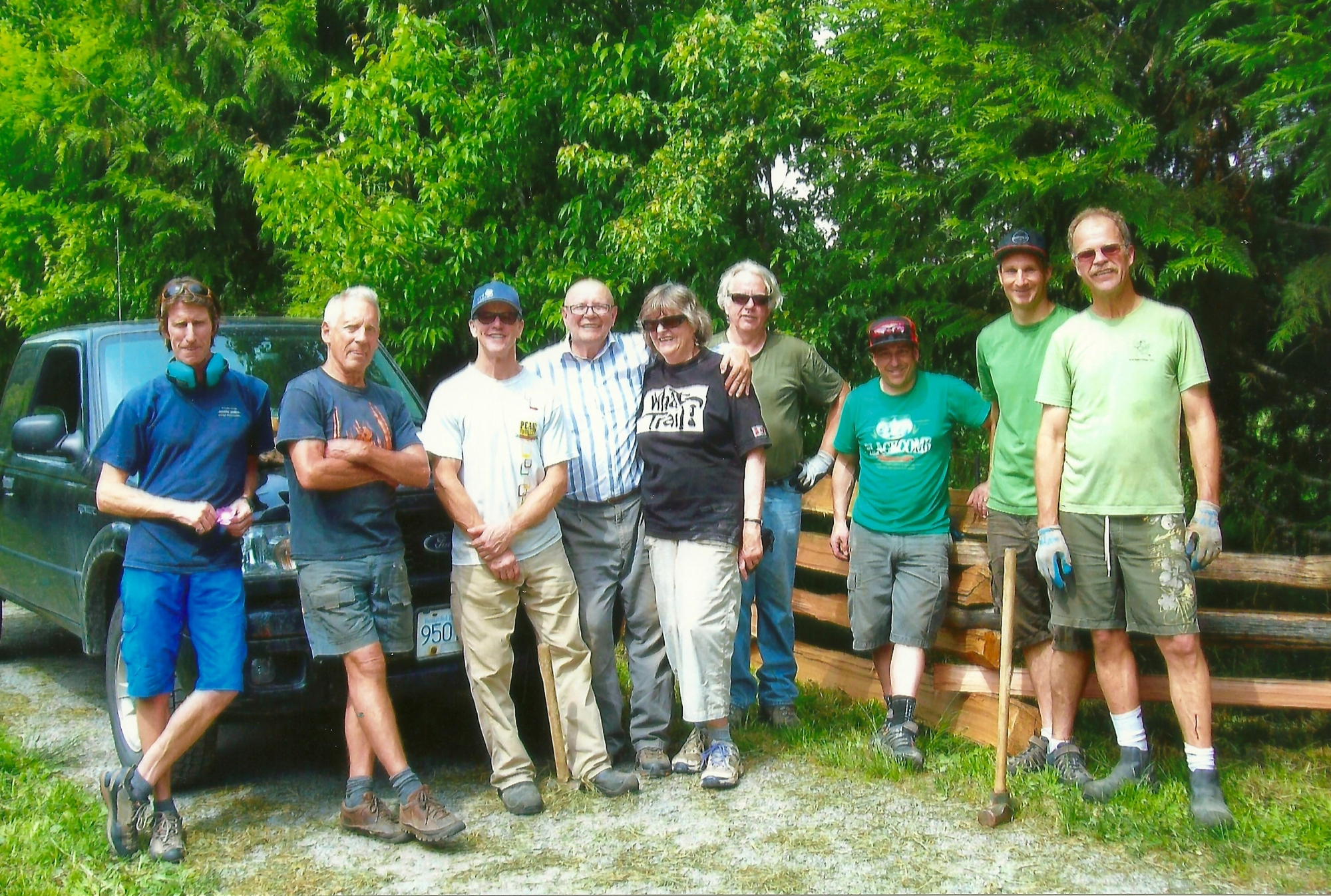 The volunteers who installed the split rail fence along Naylor Way Summer 2016