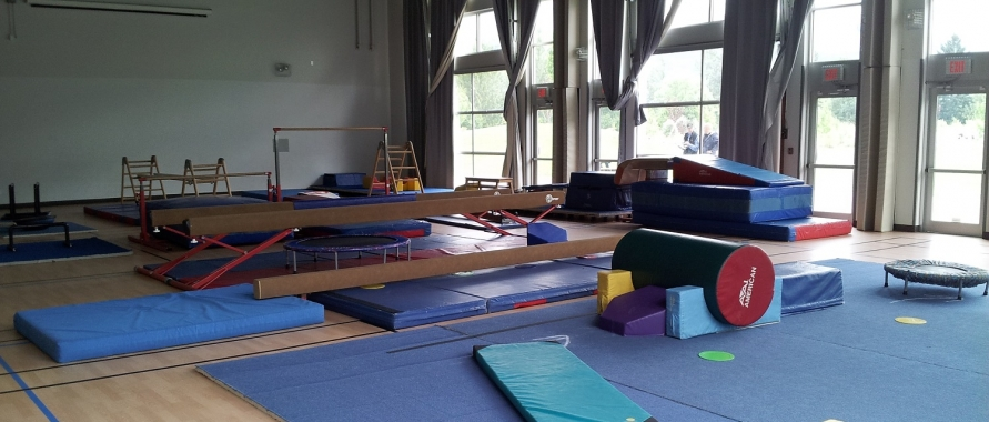 gymnastics set-up in the Great Hall