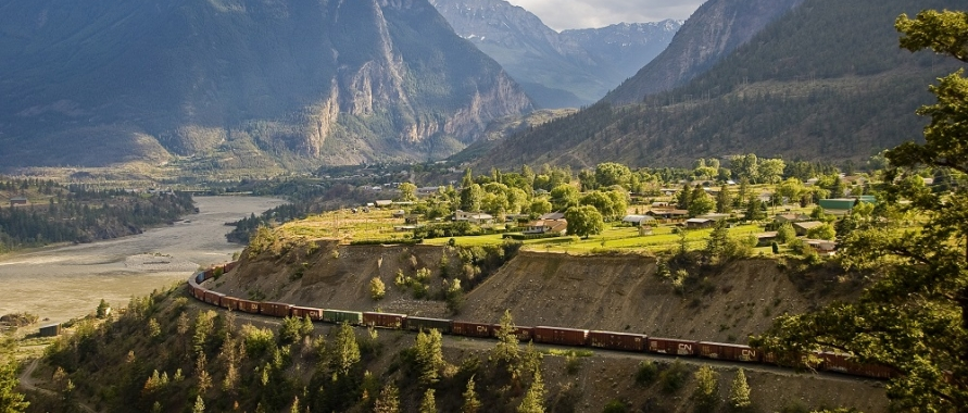 scenic of Lillooet, B.C with train; District of Lillooet